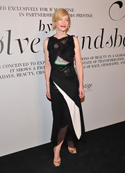 Cate Blanchett added sparkle to her ensemble with metallic peep-toe pumps.