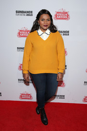 Mindy Kaling layered a mustard V-neck sweater over a collared white shirt for the 'Late Night' Live Q&A.