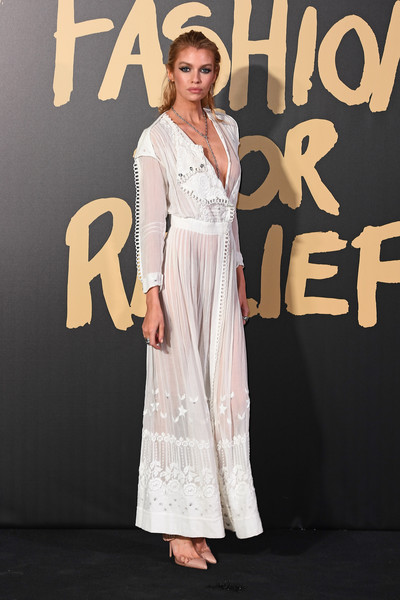 Stella Maxwell Maxi Dress [red carpet arrivals - fashion for relief london,clothing,dress,premiere,fashion,carpet,hairstyle,fashion model,red carpet,event,shoulder,london,england,british museum,stella maxwell]
