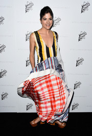 Selma Blair opted for a billowing plaid printed gown at the Stella McCartney Autumn Presentation.
