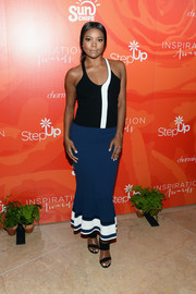 Gabrielle Union looked beach-ready in a black-and-white knit halter top at the Inspiration Awards.