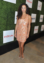 Sofia Milos chose this orange mosaic-style beaded dress for the Inspiration Awards.