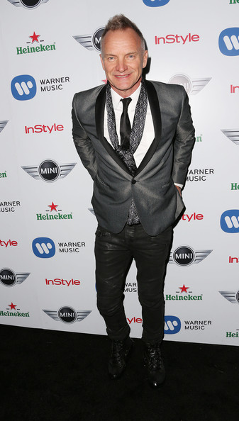 Sting Patterned Scarf [suit,formal wear,tuxedo,carpet,event,outerwear,white-collar worker,premiere,tie,award,grammy celebration - arrivals,sting,chateau marmont,california,hollywood,bar marmont,warner music group,2013 grammy celebration]