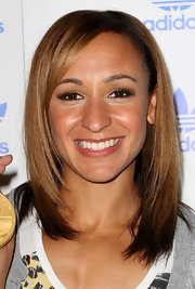 Jessica Ennis wore her hair in a sleek shoulder-length layered cut for the Stone Roses gig.