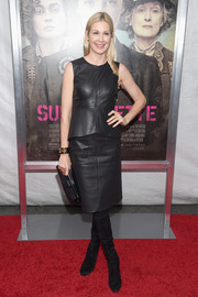 Kelly Rutherford attended the New York premiere of 'Suffragette' wearing a black leather peplum top.