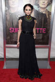 Stacey Bendet went for goth glamour in a black Alice + Olivia lace gown with a bejeweled bib during the New York premiere of 'Suffragette.'