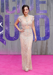 Karen Fukuhara was a stunner in a figure-hugging nude lace gown by Reem Acra at the European premiere of 'Suicide Squad.'