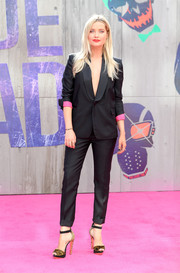 Laura Whitmore made masculine dressing look so sexy when she wore this black pantsuit sans shirt at the 'Suicide Squad' European premiere.