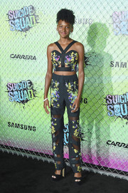 Shailyn Pierre-Dixon matched her top with a pair of sheer-panel print pants.