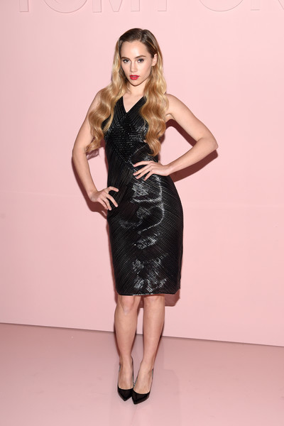 Suki Waterhouse Pumps [fashion model,dress,little black dress,beauty,model,lady,fashion show,cocktail dress,flooring,fashion,arrivals,suki waterhouse,new york city,park avenue armory,tom ford spring,summer 2018 runway show]