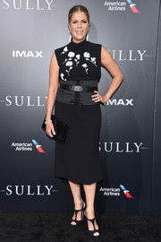 Rita Wilson donned a little black dress with floral accents on the bodice for the New York premiere of 'Sully.'