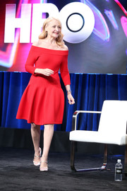 Patricia Clarkson looked party-ready in a red off-the-shoulder dress at the Summer 2018 TCA Press Tour.