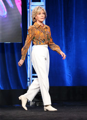 Jane Fonda attended the Summer 2018 TCA Press Tour wearing a brushstroke-print blouse.