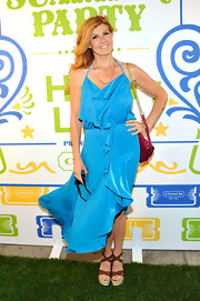 Connie Britton looked ready for summer when she sported this sky blue ruffled dress.