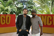 Leonardo DiCaprio was casual yet smart in a black blazer, gray button-down, and jeans at the 'Django Unchained' photocall.