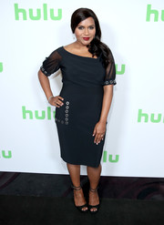 Mindy Kaling looked effortlessly elegant in a little black dress with sheer sleeves and grommet accents at the Hulu Summer TCA event.