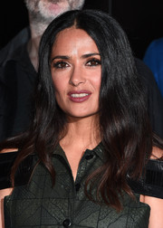 Salma Hayek opted for a simple center-parted wavy 'do when she attended the Sundance London filmmaker and press breakfast.