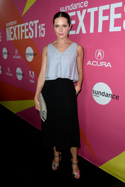 Katie Aselton teamed a sleeveless blue striped blouse with a black midi skirt for the LA premiere of 'Mistress America.'