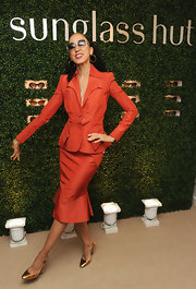 Pat Cleveland chose a burnt orange skirt suit to give her a sleek and classic look at the Sunglass Hut Mother's Day Event.