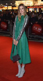 Agyness Deyn layered a sleeveless green leather dress over a silver sequin top, both by Dior, for the BFI London Film Fest screeening of 'Sunset Song.'