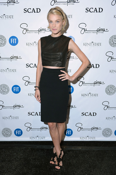Jessica Stam teamed her top with a black pencil skirt for an edgy-sexy finish.