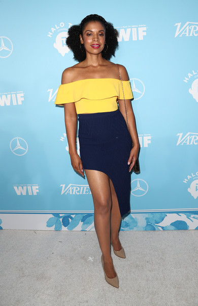 Susan Kelechi Watson Off-the-Shoulder Top [variety and women in film,variety and women in film,blue,fashion model,yellow,electric blue,joint,shoulder,flooring,beauty,little black dress,leg,susan kelechi watson,arrivals,west hollywood,california,gracias madre,2017 pre-emmy celebration]