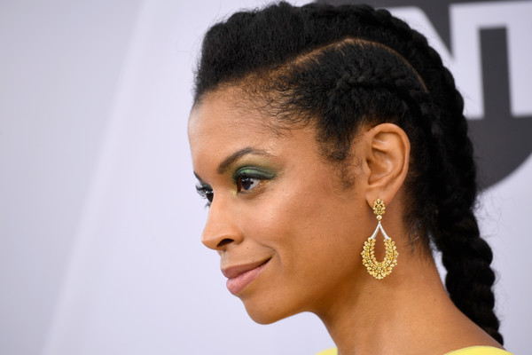 Susan Kelechi Watson French Braid [hair,hairstyle,face,ear,eyebrow,black hair,chin,beauty,nose,forehead,arrivals,susan kelechi watson,screen actors guild awards,screen actors\u00e2 guild awards,hair,earring,details,california,los angeles,the shrine auditorium]