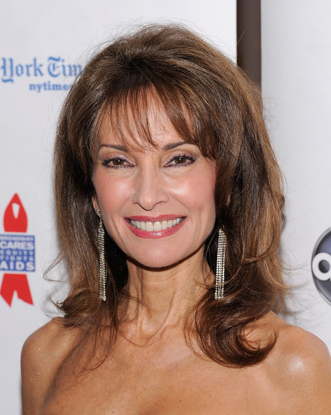 Susan Lucci Dangling Chain Earrings [hair,face,hairstyle,eyebrow,chin,brown hair,lip,blond,layered hair,long hair,susan lucci,new york city,abc soapnet salute broadway cares/equity fights aids benefit closing celebration,soapnet salute broadway cares/equity fights aids benefit,closing celebration,abc,the new york marriott marquis]