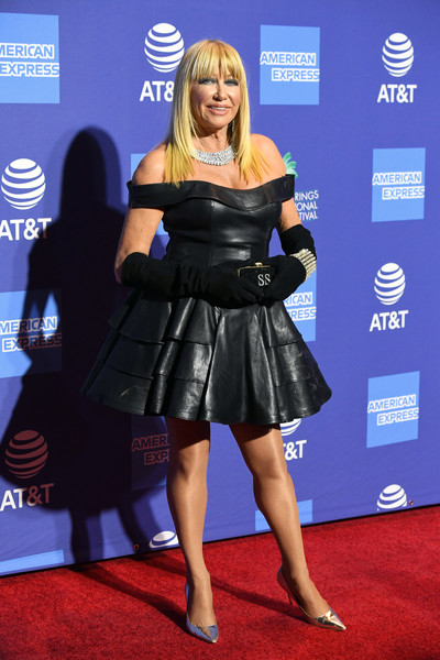 Suzanne Somers Leather Dress [carpet,clothing,red carpet,dress,little black dress,flooring,cocktail dress,electric blue,premiere,event,arrivals,suzanne somers,palm springs convention center,california,palm springs international film festival film awards gala]