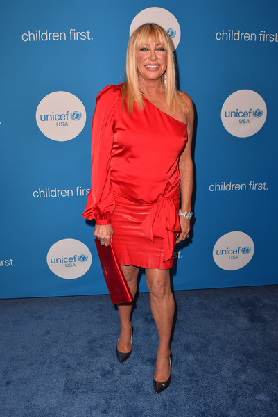 Suzanne Somers One Shoulder Dress [clothing,red,cobalt blue,electric blue,dress,cocktail dress,carpet,footwear,blond,premiere,arrivals,suzanne somers,ball,beverly wilshire four seasons hotel,beverly hills,california,unicef,unicef ball]