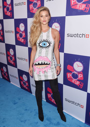 Nina Agdal got cheeky in a graphic sequin dress by Discount Universe for the Swatch: A Night of POP event.