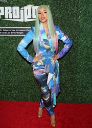 Cardi B was an explosion of colors in this graphic pantsuit by Valery Kovalska at the Swisher Sweets Awards.