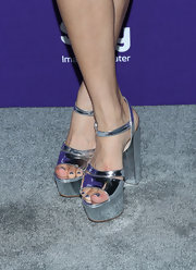 Meaghan Rath chose these cool metallic silver platforms for a cool futuristic look.
