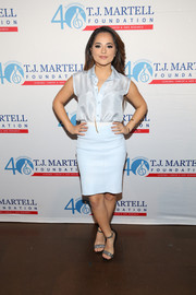 Becky G kept it breezy in a sleeveless pastel-blue button-down shirt at the T.J. Martell Foundation's New York Family Day.