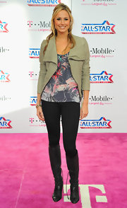 Stacy Keibler looked hip in a stone leather jacket with a wide collar.