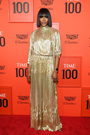 Naomi Campbell radiated in a fully sequined Valentino Couture gown at the 2019 Time 100 Gala.