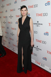 Julianna Margulies chose a sleek and sophisticated black tuxedo gown by Michael Kors for her Time 100 Gala look.