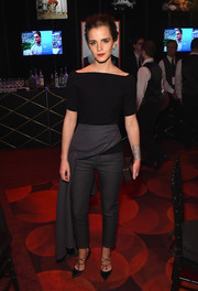 Strappy black satin pumps added a dose of elegance to Emma Watson's look.