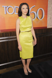 A pair of embellished gold peep-toe pumps added shimmer to Ann Curry's look.