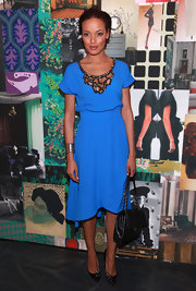 Selita Ebanks topped off her brilliant blue dress with embellished stilettos.