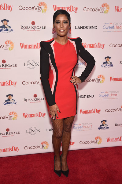 Tamron Hall Shoulder Pad Dress [womans day,clothing,red carpet,carpet,dress,red,cocktail dress,fashion,joint,shoulder,footwear,tamron hall,red dress awards,new york city]