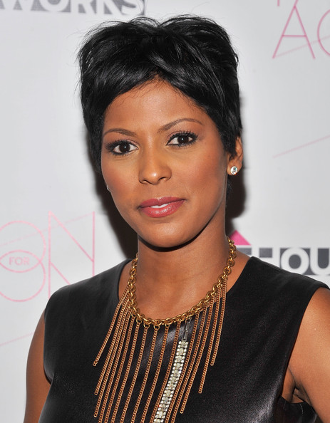 Tamron Hall Fauxhawk [thom browne,tamron hall,hair,hairstyle,black hair,eyebrow,lip,forehead,long hair,fashion accessory,lace wig,jewellery,new york city,rubin museum of art,housing works fashion for action 2010]