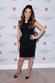Sabrina Soto chose a classic black peplum dress for her look at the Target Dollhouse Event in NYC.