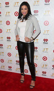Jordin Sparks blended casual with edgy when she wore this gray blazer with leather pants.