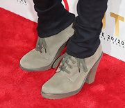 Anna Kendrick chose a pair of suede ankle booties for her red carpet look at the release of Justin Timberlake's new album.