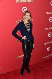 Naomi Watts teamed a cute navy peplum cardigan with a striped top and leather pants for the Target 'Toycracker' premiere.