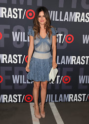 Rachel Bilson is a dream in nude Brian Atwood pumps. The bow-adorned Dolly pumps were the perfect girlie heel for a ruffled cocktail dress.