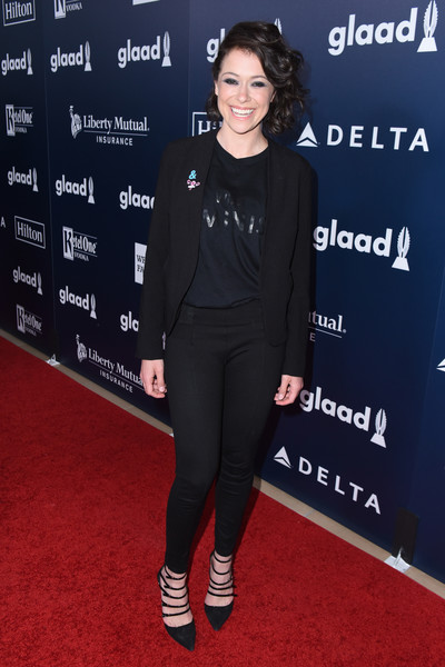 Tatiana Maslany Evening Pumps [clothing,carpet,red carpet,premiere,footwear,flooring,outerwear,leggings,shoe,event,cocktails,tatiana maslany,glaad media awards,red carpet,la,beverly hills,california,the beverly hilton hotel]