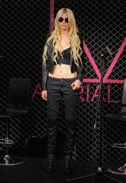 Taylor Momsen Knee High Boots [material girl clothing line,photo,performance,pink,fashion,music artist,singer,blond,pop music,leg,thigh,performing arts,taylor momsen,performance,new york city,macys herald square,launch,clothing line launch]