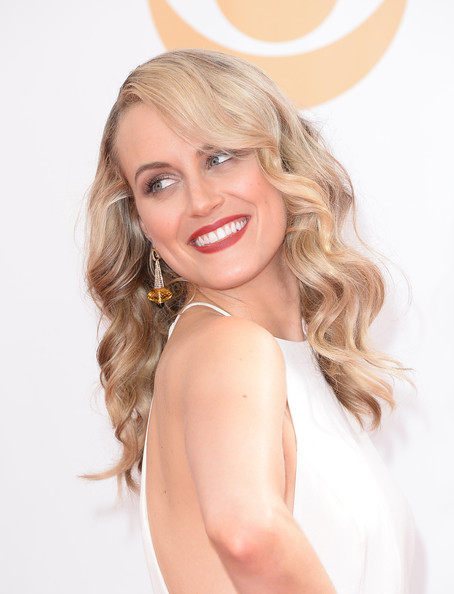 Taylor Schilling Dangling Gemstone Earrings [hair,face,blond,hairstyle,skin,lip,long hair,beauty,eyebrow,chin,arrivals,taylor schilling,part,california,los angeles,nokia theatre l.a. live,primetime emmy awards]